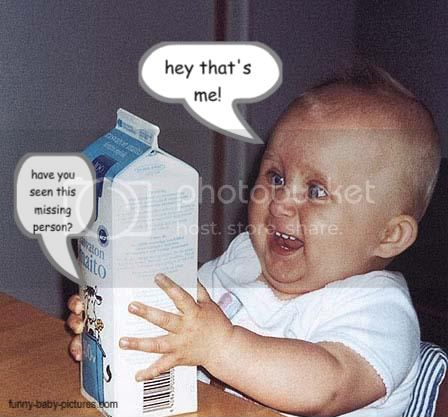 funny picture of baby finding out he's missing