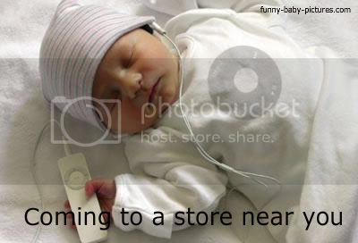 funny baby picture wearing headphones